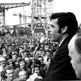 Jimmy Reid addresses shipyard workers, 1971