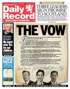 "The Daily Record won Newspaper of the Year for this front age. Reporting Scotland seems to have forgotten all about ""The Vow"""