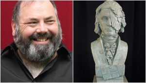 """Prof Gerard Carruthers alongside a bust of the """"Scottish martyr"""" Thomas Muir"""