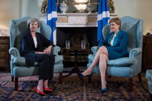 The PM invades Scotland to take part in arm wrestling against the dreaded Sturgeon. It's too soon to tell who might win.