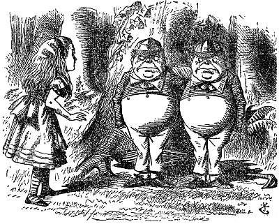 John Tenniel's 19th century depiction of Tweedldum & Tweedledee, from the Lewis Carroll novel