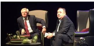 Alex Salmond with his old pal David Davis at Edinburgh Fringe Aug 2017