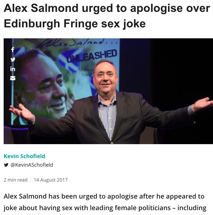 Alex Salmond sick sex joke